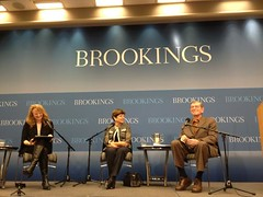 Krista Tippett with Alice Rivlin and Sen. Pete Domenici at The Brookings Institution