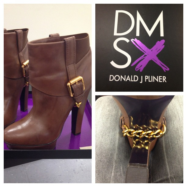 Well this is a pleasant surprise. Thank you @DonaldJPliner love the gold chain detailing! #leather #booties #goldchain #DMSX