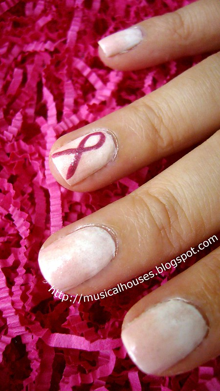 breast cancer awareness nail art 1