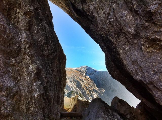 The Hoher Göll seen through a natural rock window