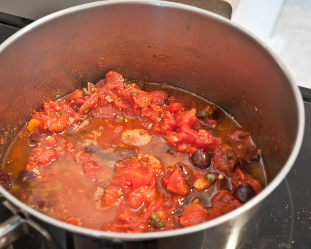 Puttanesca Sauce Cooking