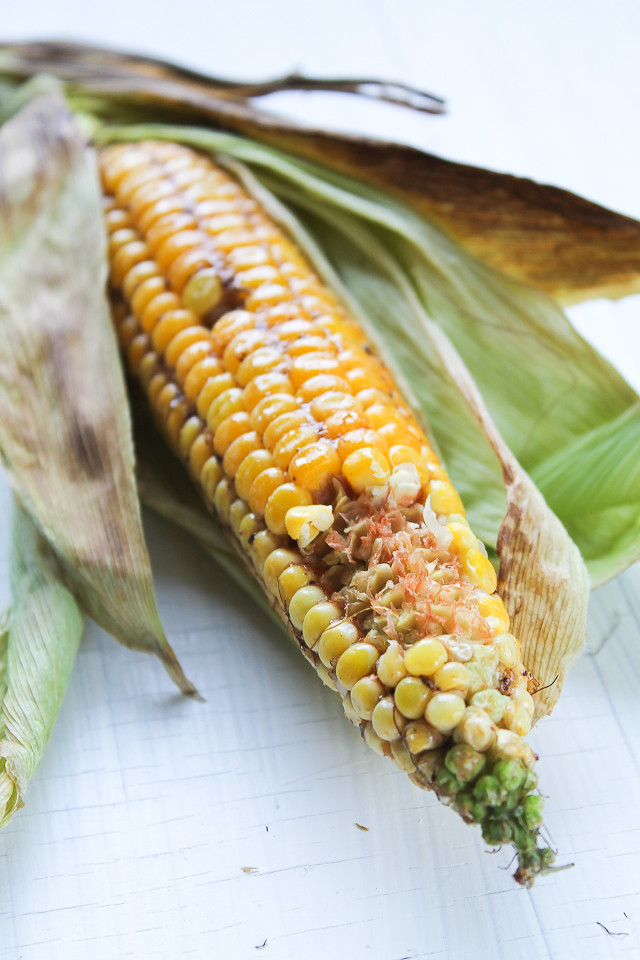 Oven Broiled Corn with Maple-Mustard Glaze
