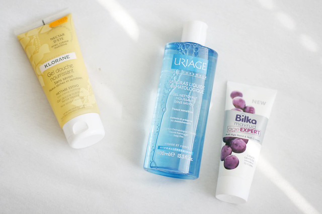 Drugstore haul: Klorane and Uriage shower gel, Bilka hand cream
