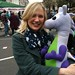A besotted Puffles with Dr Stella Creasy MP, Shadow Crime Prevention Minister