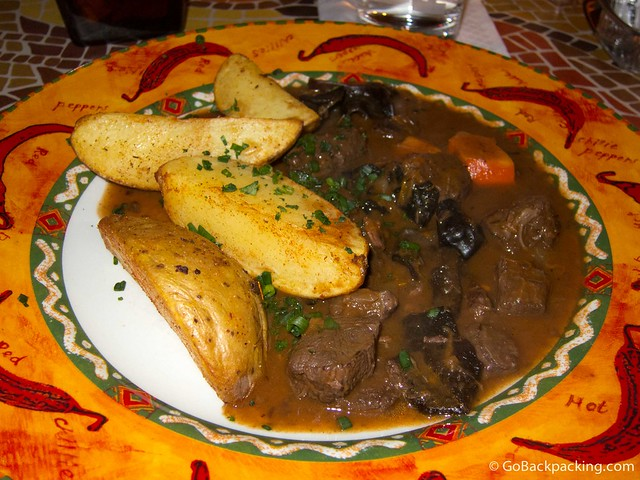 Goulash of emu with potatoes