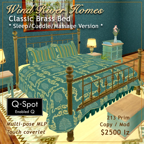 Classic Brass Bed - in teal and gold by Teal Freenote