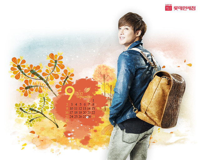 Kim Hyun Joong Lotte Duty Free Calendar Wallpaper Sep 2012