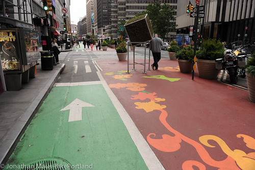 Broadway protected bike lane and plazas-37
