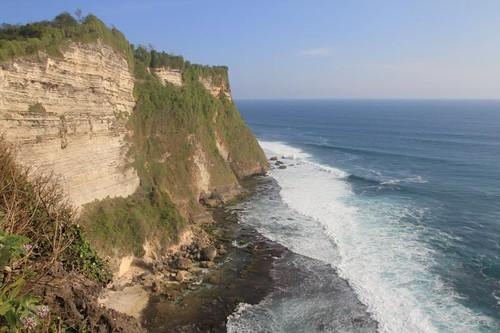The rugged coastline at the Uluwatu Temple...