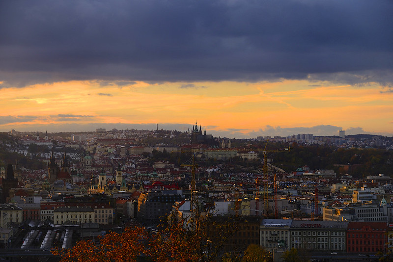 Sunset as seen from Vitkov Hill, Prague