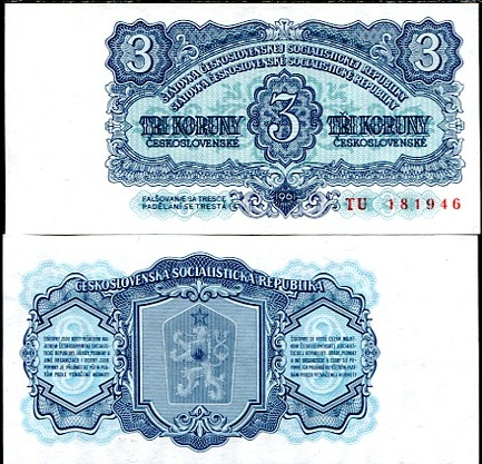3 Kčs II. Tri koruny Československo 1961, Pick 81