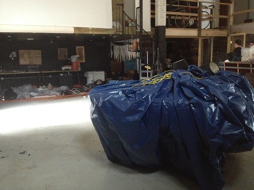 Our donated Steinway grand was wrapped in a tarp.  We've yet to assess the damage.
