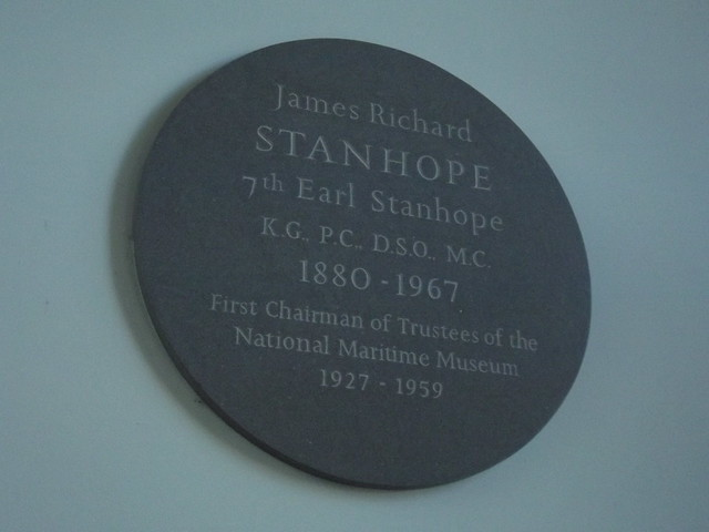 James Stanhope bronze plaque - James Richard Stanhope  7th Earl Stanhope  K.G.,P.C., D.S.O., M.C.  1880 - 1967  First Chairman of Trustees of the National Maritime Museum  1927 - 1959
