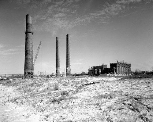 abandoned industry ruin explore smokestack 4x5 powerplant ilfordfp4plus industrialruin bwblackandwhitebw sekonicl758dr filtertiffendeepyellowwratten15 kodakhc110developerdilutionb kodak203mmf75lens graflexgraphicviewcameraii
