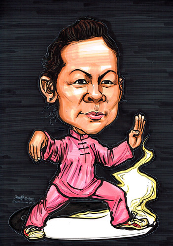 Tai Chi caricature for Mastercard
