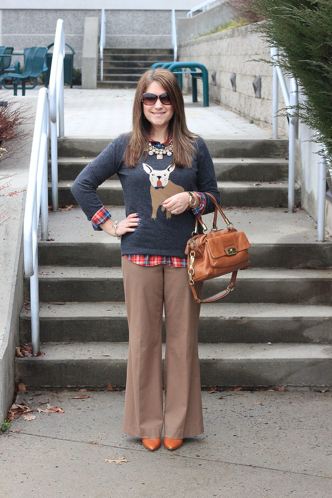 dog print sweater with plaid and camel trousers outfit