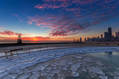 pink blue lake chicago color ice beach water skyline architecture clouds sunrise dawn illinois nikon downtown michigan jetty north freezing sigma hancock 1020mm avenue d90