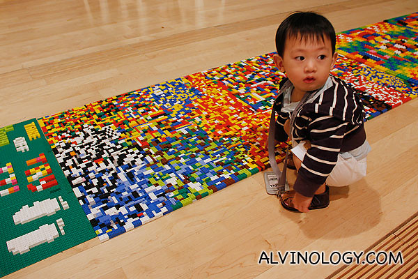 Asher checking out the LEGO reflexology path