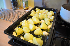 Flavoured potatoes ready to roast