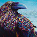 Raven Acrylic Painting by Claudelle Girard