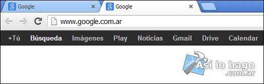 Navegador de Google Chrome con dos pestañas iguales