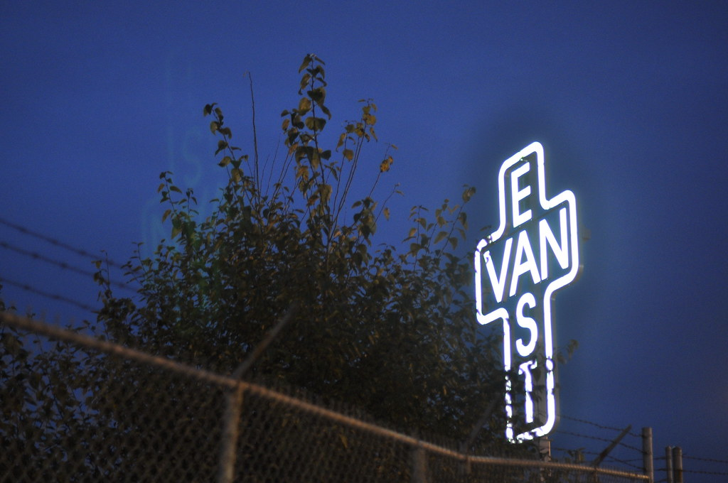 East Van neon sign L