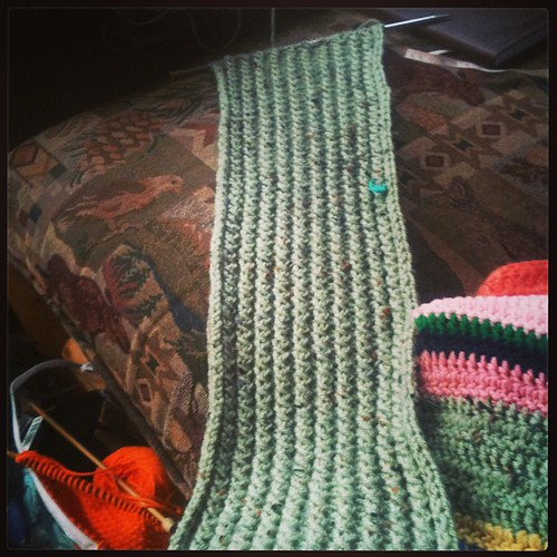Yesterday's progress in the scarf.  I almost doubled it.  #knitting #etsy