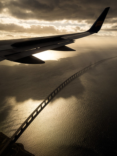 2012 airplane atmosphere bridge canonpowershotg12 creativecommons denmark dk g12 lookingdown malmö photobystignygaard plane scenery sea sun suspensionbridge sverige view water windowsseat wing øresund øresundbridge øresundsbroen øresundsbron swe sweden danmark dänemark copenhagen copenhague viewfromabove