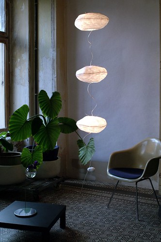 trio of white paper orbs hanging light