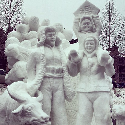 Team China created a happy family enjoying the cold together for the 2013 International Snow Sculpture Championships