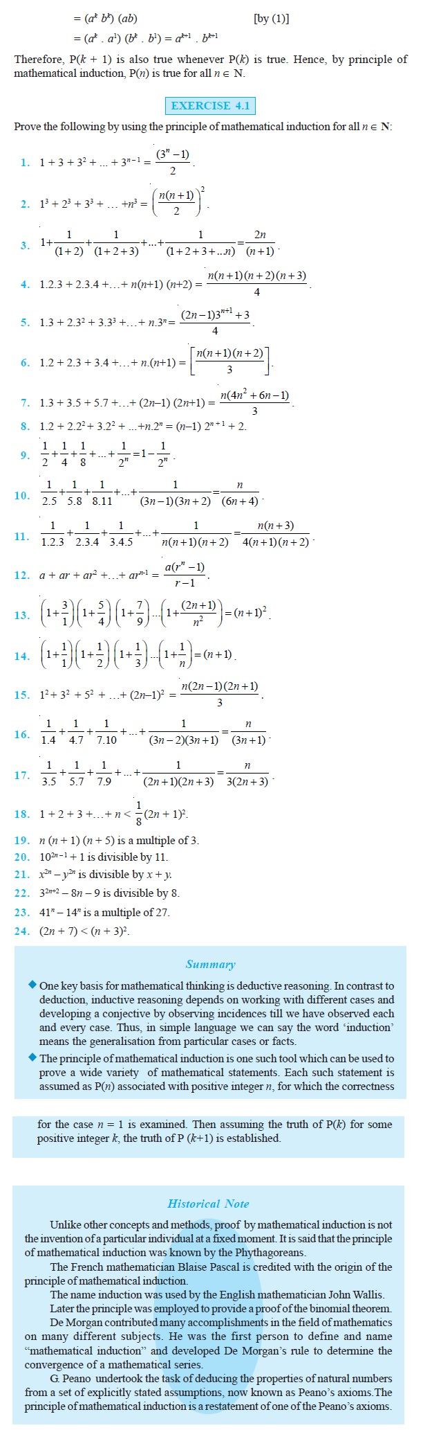 NCERT Class XI Mathematics Chapter 4 – Principle of Mathematical Induction