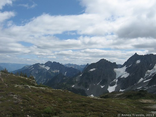 Looking back from the meadow on Sahale Arm, North Cascades National Park, Washington