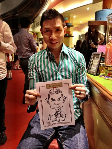 caricature live sketching for Au Chocolat Opening - 6