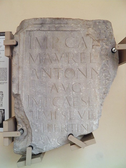 Inscription dedicated to Caracalla, 198-211 AD, exhibited in the smaller cloister, Civico museo archeologico di Milano