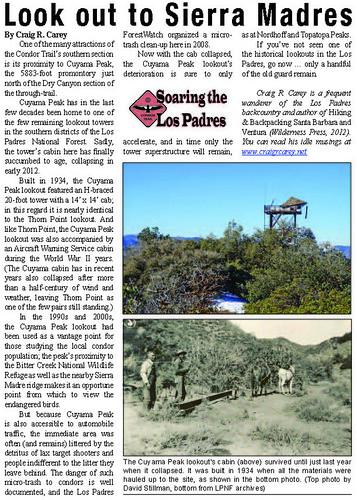 Cuyama Peak Lookout article
