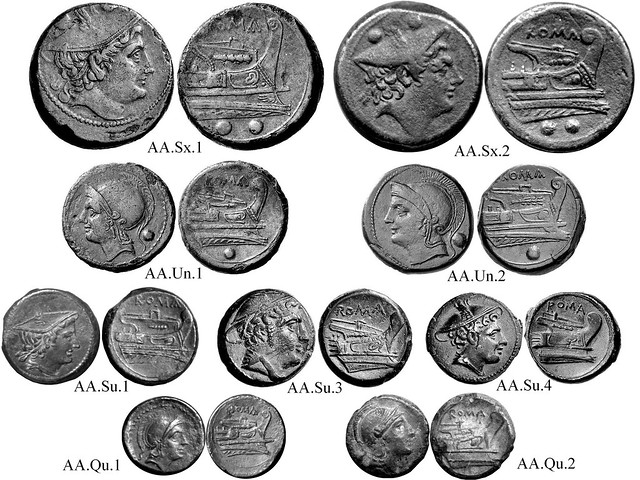 AA Roman Republican Anonymous struck bronzes, McCabe group AA, RRC 38 Semilibral prow-right Sextans, Uncia, Semuncia, Quartuncia; obverse heads face left on Uncia, right on other coins