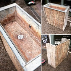 Old Galvanised Trough and Scaffold boards now repurposed into a sink, love the patina of this... #madeinderbyshire #furniture #pub #bar #toilets #derby #derbyshire #upcycling #reused #wood #metal #sink #galvanised #bespoke #customerorder