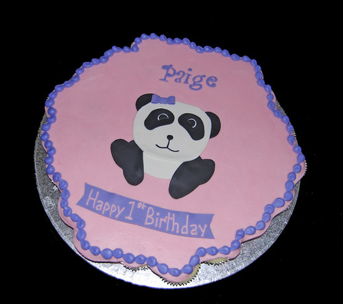 pink and purple 1st birthday panda cupcake cake