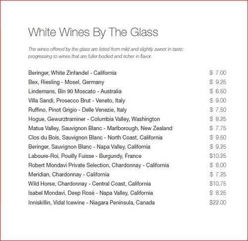Wine Champagne List Cruise Critic Message Board Forums
