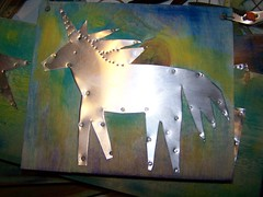 unicorn on metal by Emilyannamarie