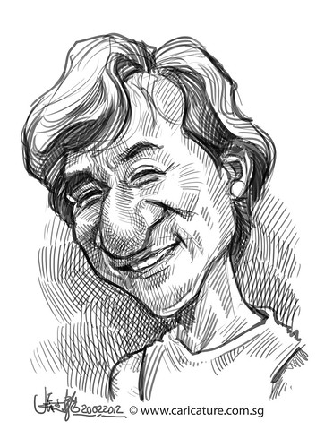 digital caricature sketch of Jackie Chan