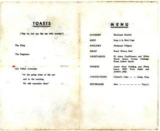 Xmas 1941 - Australian 2/17th Infantry Battalion 25th Dec 1941 Xmas Menu part 2