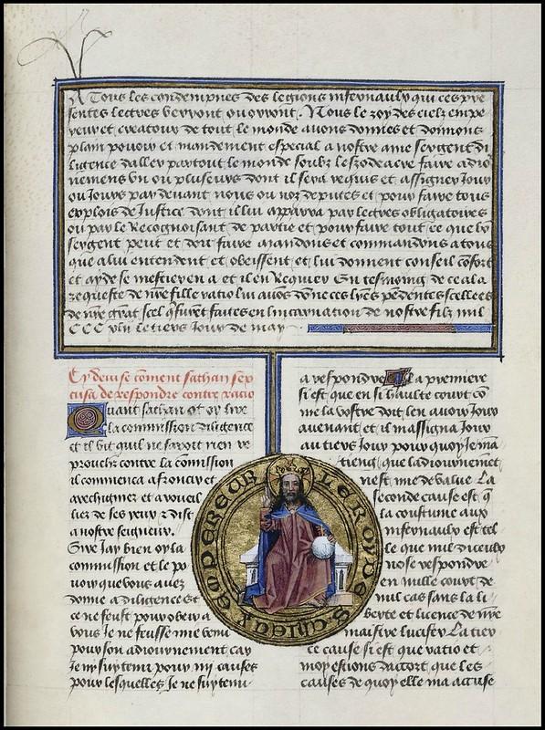 15th century illuminated manuscript miniature: Henri de Ferrières, Les Livres du roy Modus et de la royne Ratio 234