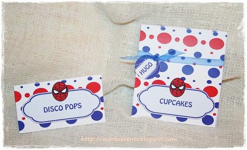 Tarjetas mesa. Kit de fiesta spiderman. Merbo events