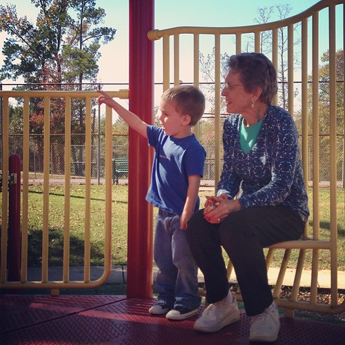 Park play with Great-Grandma. #Love