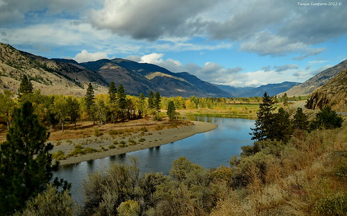road trees sky canada mountains nature water grass pine clouds river landscape flow photography photo flora nikon photographer bc image britishcolumbia okanagan shoreline photograph birch sagebrush okanaganvalley similkameenriver cawston copyrightimage nikond7000 taniasimpson