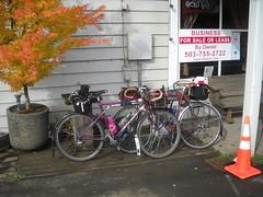 Two rando bikes outside the Birkenfeld store