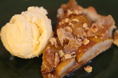 Seckle Pear Tart with Walnuts, Crystallized Ginger, and Boubon Caramel Sauce with Vanilla Ice Cream