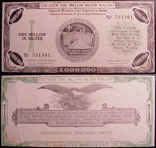 1962 Seattle Million Dollar cetificate