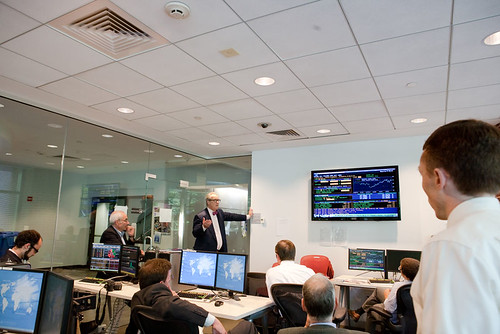 Image of Tom Keene when he visited Brandeis IBS to present in the Bloomberg Lab